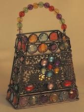 Hand Purse Design Multi Color Wrought Iron Tea Light Holder - Aapno Rajasthan