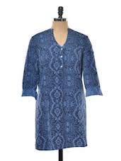 Solid Blue Printed Tunic - Myaddiction