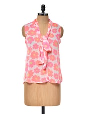 Floral Printed White And Pink Top - Myaddiction