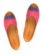Pink And Purple Peep Toe Flats - MAHARAJA