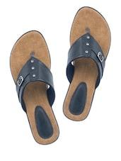 Buckle Trim Black Sandals - Wedges