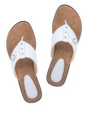 Buckle Trim White Sandals - Wedges