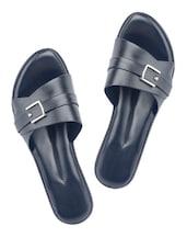 Buckle Trim Black Wedge Sandals - Wedges