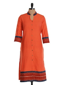 Orange Cotton Straight Kurta - Farida Gupta