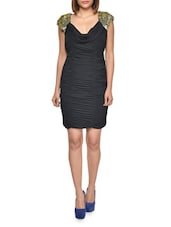 Ruched Black Pencil Dress With Cowl Neck - FOREVER UNIQUE