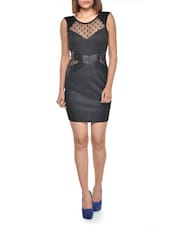 Cut Out Black Dress With Mesh Inserts - Lipsy