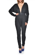 Solid Black Deep Neck Jumpsuit - BODYAMR