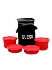 Round Pink Lunch Box With Bag (Set Of 4) - Trust & Guess