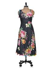 Floral Print Dress With Pom Pom - Shakumbhari