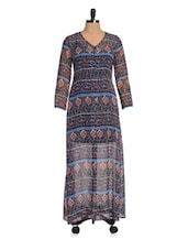 Black And Blue Printed Maxi Dress - Magnetic Designs