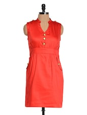 Solid Red Cut Sleeved Dress - Magnetic Designs