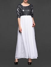 Full Sequined Top Georgette Maxi Dress - Magnetic Designs