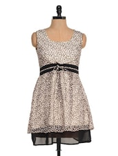 White And Black Printed Dress - Magnetic Designs