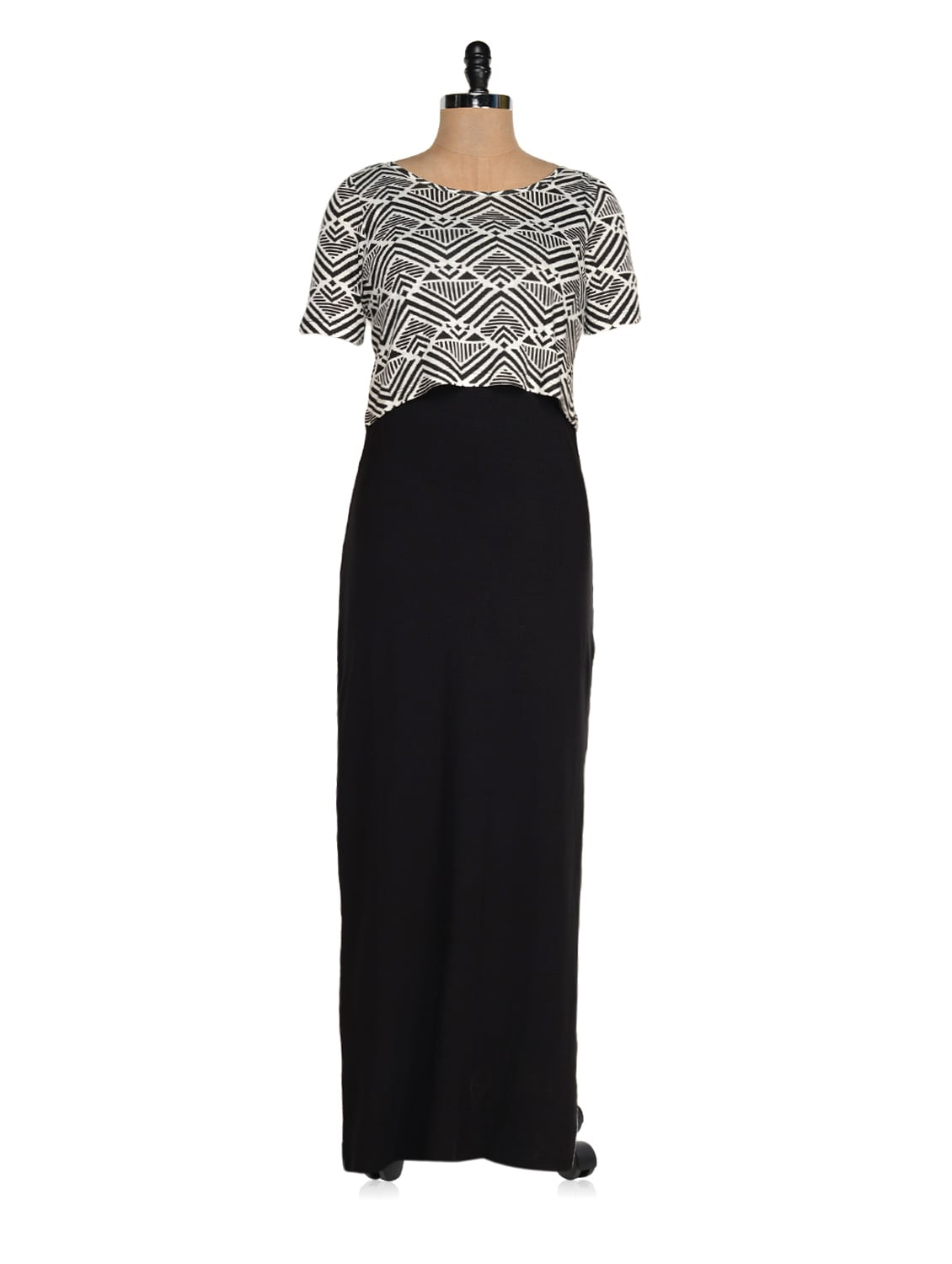 Black And White Layered Maxi Dress - Magnetic Designs