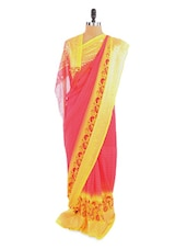 Elegant Pink And Yellow Saree With Blouse Piece - ROOP KASHISH