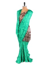 Lovely Green And Grey Shaded Saree With Blouse Piece - ROOP KASHISH