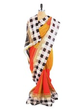 Lovely Yellow And Orange Saree With Blouse Piece - ROOP KASHISH