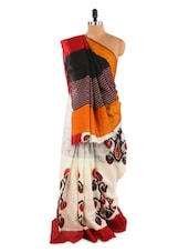 Elegant Orange And White Saree With Blouse Piece - ROOP KASHISH