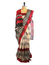 Elegant Grey And Red Saree With Blouse Piece - ROOP KASHISH