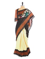 Fabulous Black And Beige Saree With Blouse Piece - ROOP KASHISH