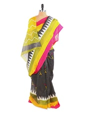 Stunning Colour Blocked Yellow And Grey Saree With Blouse Piece - ROOP KASHISH