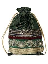 Gorgeous Dark Green Embellished Potli Bag - Hastakrta