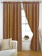 Brown Golden Printed Eyelet Curtain Set Of Two - Story @ Home