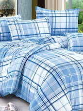 Blue-White Check Double Bed Sheet - Story @ Home