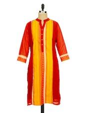 Red And Yellow Printed Kurti - Ayaany