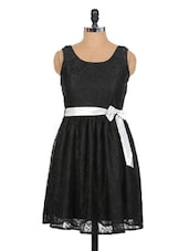 Black Lace Floral Dress - Xniva