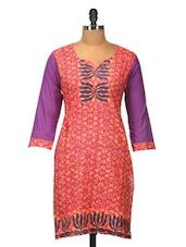 Pink Cotton Kurti With Purple Sleeves - Jaipurkurti.com