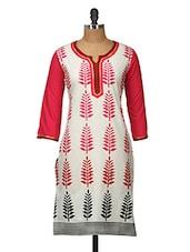 White Leaf Print Cotton Kurti - Jaipurkurti.com