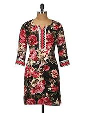 Black Floral Print Cotton Kurti - Jaipurkurti.com