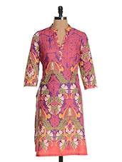 Purple Cotton Printed Kurta - Kaccha Taanka