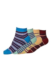 Set Of 4 Cotton Ankle Socks - By