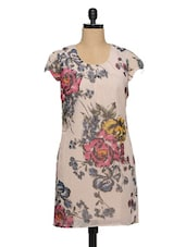 Floral Print Short Sleeves Beige Dress - XnY