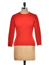 Solid Red Round Neck Top - Meee!