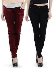 Combo Of Black And Maroon Pants - Dashy Club