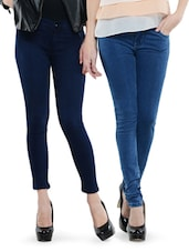 Combo Of Light Blue And Navy Blue Jeans - Dashy Club