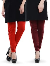 Combo Pack Of Red And Maroon Leggings - Nicci Nimo