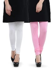 Combo Pack Of White And Baby Pink Leggings - Dashy Club