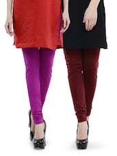 Combo Pack Of Purple And Maroon Leggings - Dashy Club