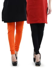 Combo Pack Of Black And Orange Leggings - Dashy Club