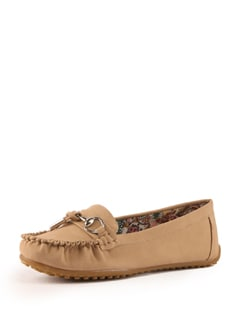Beige Faux Leather Loafers - Tresmode