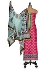 Pink Unstitched Printed  Cotton Silk Suit With Blue Dupatta - Vastrangana