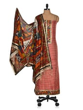 Red & Beige Unstitched Printed Cotton Silk Suit With Multicolour Dupatta - Vastrangana