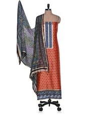 Unstitched  Printed Cotton Silk Suit With Floral Dupatta - Vastrangana