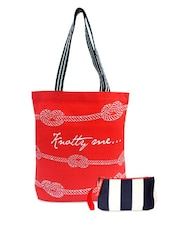 Multicolor Canvas Classic Tote And Wristlet Combo - Be... For Bag