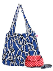 Blue And Red Canvas Tote Clutch Combo - Be... For Bag