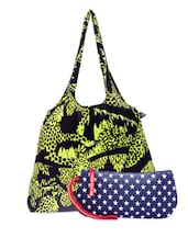 Multi-coloured Cotton Canvas Tote And Wristlet - Be... For Bag